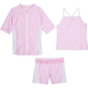 girls' rash guard swimsuit set with shorts pink ruffle polka dots swimzip