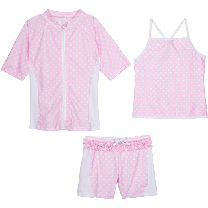 "Little Girl Short Sleeve Rash Guard Shorts Set Tankini Top - 3 Piece ""Sassy Surfer"" - SwimZip Sun Protection Swimwear"