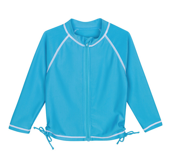 zipper long sleeve rash guard shirt turquoise