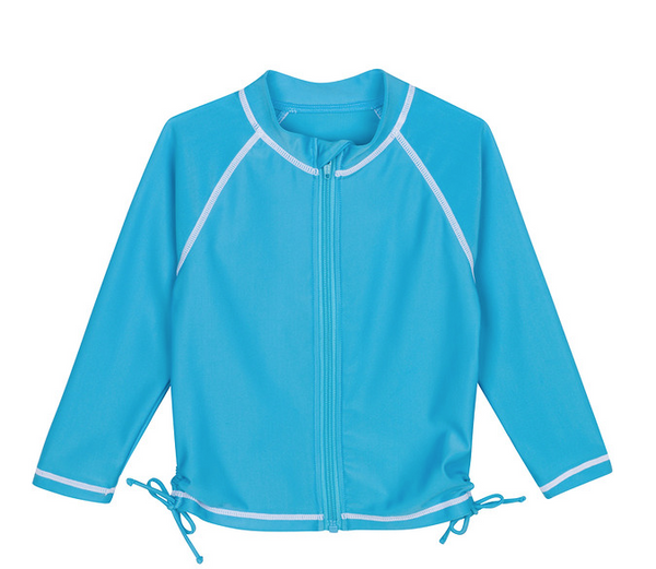 "Tween Girl Rash Guard Long Sleeve - ""Salt Water Babes"" Turquoise"