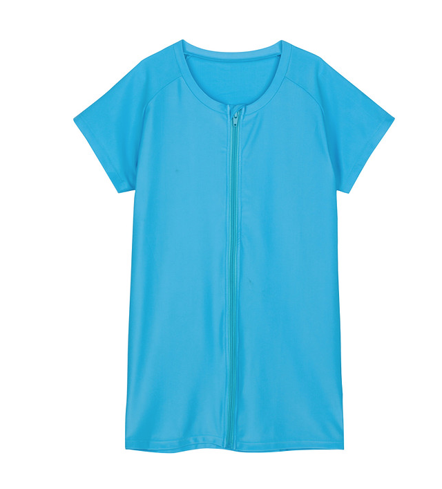 "Women's Short Sleeve Zipper Rash Guard Shirt with UPF 50+ - ""Turquoise"" - SwimZip Sun Protection Swimwear"