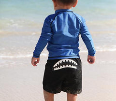 Little Boy Long Sleeve Zip Rash Guard Set UV Protective -