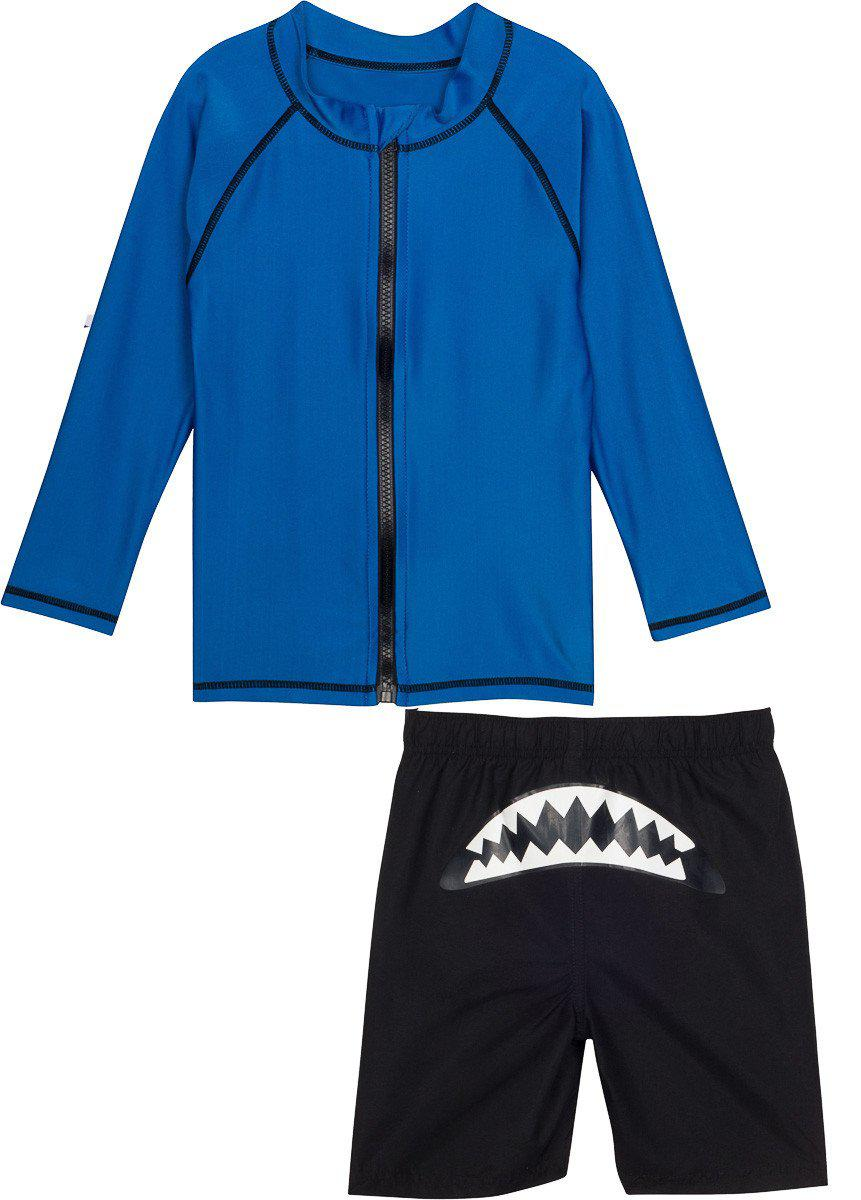 "Little Boy Long Sleeve Zip Rash Guard Set UV Protective - ""Shark Attack"""
