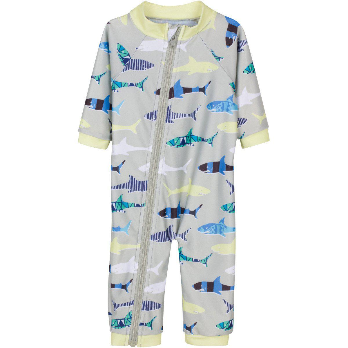 sunsuit shark feast boy long sleeve romper uv upf swimzip boy long sleeve romper upf 50 uv sun protection shark feast