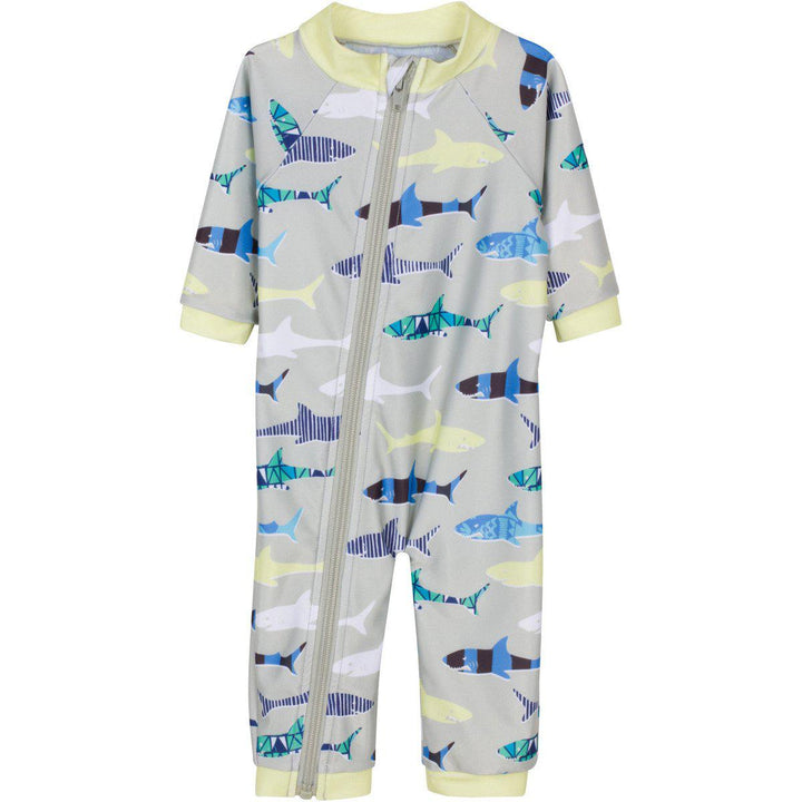 "Boy Long Sleeve Romper with UPF 50+ UV Sun Protection - ""Shark Feast"""