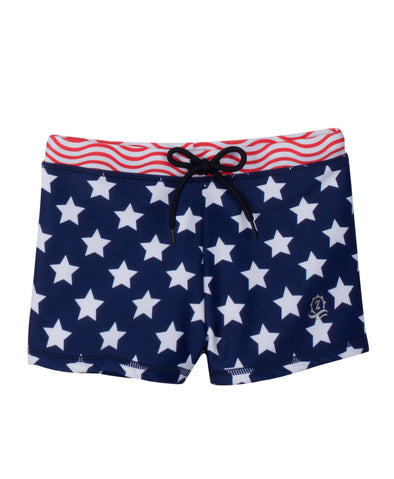 Swim Shorties with SPF 50+ UV Sun Protection | Red, White, & Blue