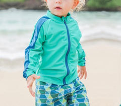 Little Boy Long Sleeve Rash Guard Swimsuit Set (2 Piece) with SPF 50+ -