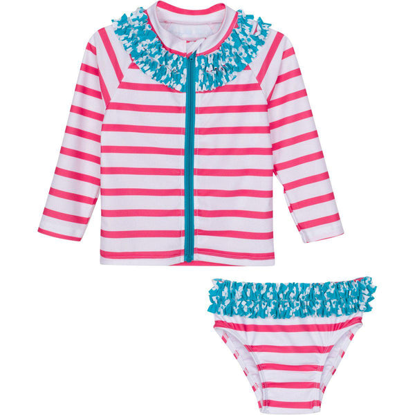 "Little Girl Long Sleeve Girl Rash Guard Swimsuit Set (2 Piece) - ""Splish Splash"""