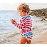 "Girl's Long Sleeve Girl Rash Guard Swimsuit Set (2 Piece) - ""Splish Splash""-SwimZip UPF 50+ Sun Protective Swimwear & UV Zipper Rash Guards-pos8"