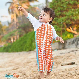 "Sunsuit - ""Dino-Mite"" Boy Long Sleeve Romper with UPF 50+ UV Sun Protection - SwimZip Sun Protection Swimwear"