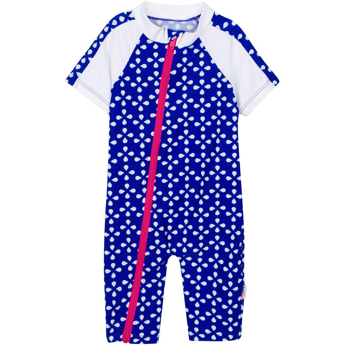 "Baby Girl Short Sleeve Sunsuit Swimsuit with UPF 50+ UV Sun Protection- Blue 1 Piece Romper ""Flower Power"""
