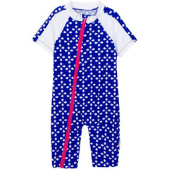 Baby Girl Short Sleeve Sunsuit Swimsuit with UPF 50+ UV Sun Protection- Blue 1 Piece Romper