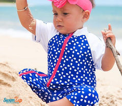 baby pink and blue swimsuit by swim zip