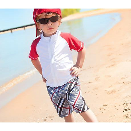 "Boy's Short Sleeve Rash Guard Set - ""Surfer Dude"" - SwimZip Sun Protection Swimwear"