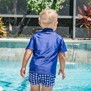 "Kid's Euro Swim Shorties - ""Navy Gingham"" - SwimZip Sun Protection Swimwear"