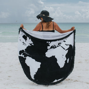 "Round Beach Towel - ""Voyage Around The World""-1 Size-Voyage Around the World-SwimZip UPF 50+ Sun Protective Swimwear & UV Zipper Rash Guards-pos3"