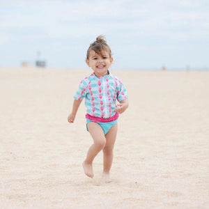 "Girl's Short Sleeve Rash Guard Swimsuit Set (2 Piece) - ""Pool Party"""