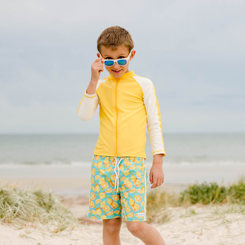 "Boy's Long Sleeve Rash Guard and Swim Trunk Set - ""Lemons""-SwimZip UPF 50+ Sun Protective Swimwear & UV Zipper Rash Guards-pos6"