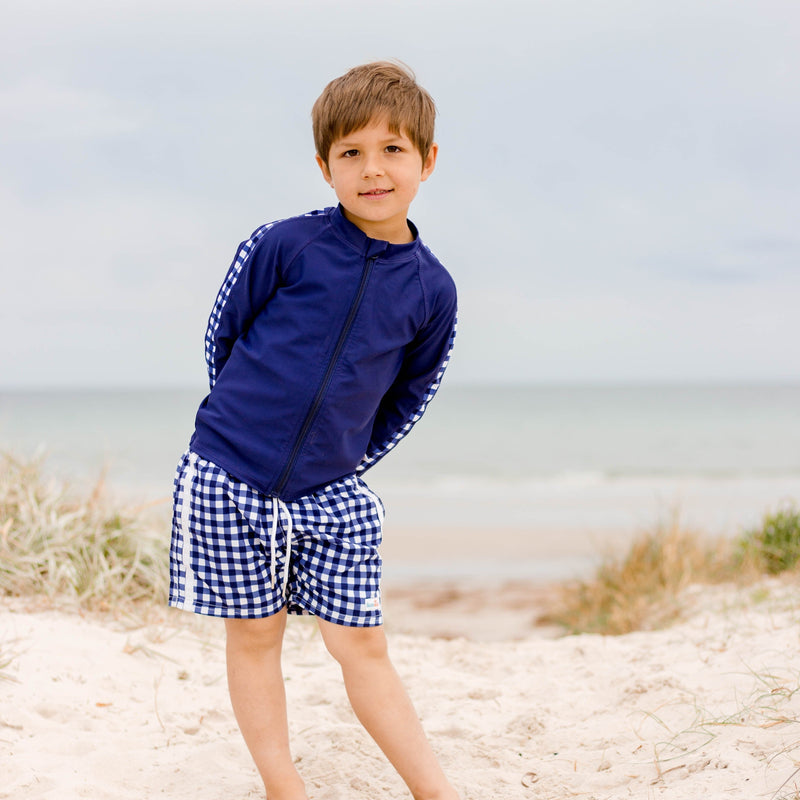 "Boy's Long Sleeve Rash Guard and Swim Trunk Set - ""Navy Gingham""-SwimZip UPF 50+ Sun Protective Swimwear & UV Zipper Rash Guards-pos2"