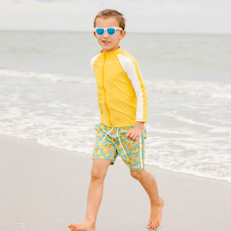 "Boy's Long Sleeve Rash Guard and Swim Trunk Set - ""Lemons"" - SwimZip Sun Protection Swimwear"