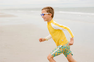 Kid's Long Sleeve Rash Guard Swim Shirt (Two-Tone) - Yellow/White - SwimZip Sun Protection Swimwear