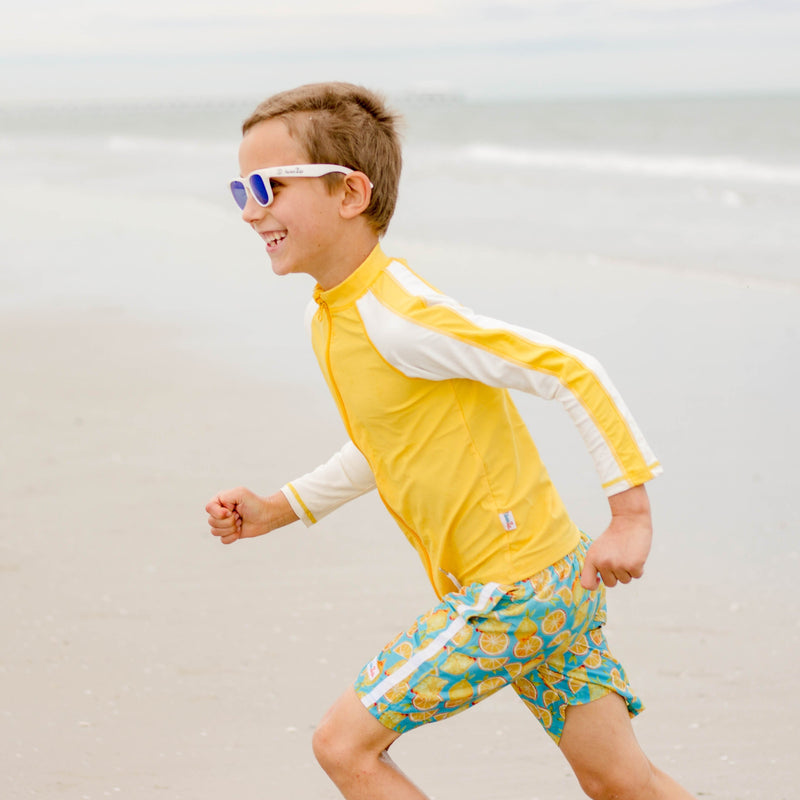 "Boy's Long Sleeve Rash Guard and Swim Trunk Set - ""Lemons""-SwimZip UPF 50+ Sun Protective Swimwear & UV Zipper Rash Guards-pos8"