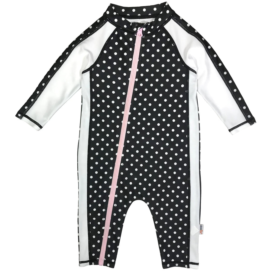 "Sunsuit - Girl Long Sleeve Romper Swimsuit with UPF 50+ | ""Black Polka Dots"" - SwimZip Sun Protection Swimwear"