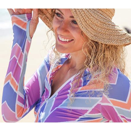 "Women's Long Sleeve Zip Rash Guard ""Cali Girl"" UPF 50+ - SwimZip Sun Protection Swimwear"