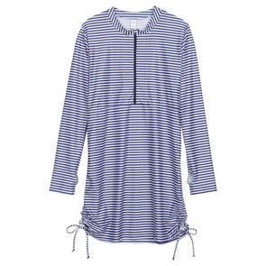 Womens SPF Cover Up Swim Dress UV UPF 50+ navy stripe SwimZip