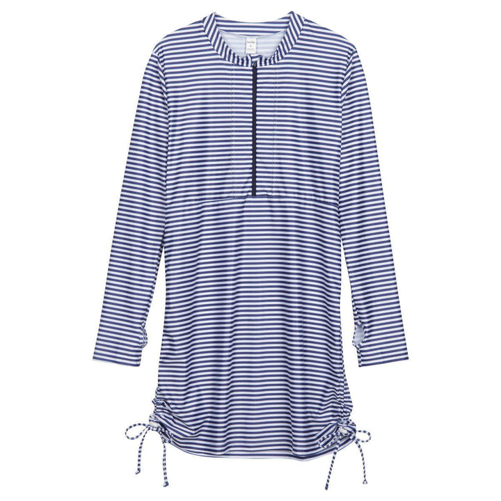 "Women's Essential Swim Dress Cover Up - Navy Stripe ""Stunner"" - SwimZip Sun Protection Swimwear"