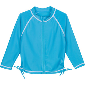 Girl's Long Sleeve Rash Guard - Aqua - SwimZip Sun Protection Swimwear