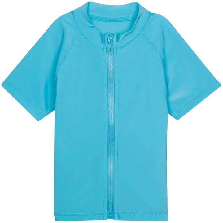 Kid's Short Sleeve Rash Guard Swim Shirt - Aqua - SwimZip Sun Protection Swimwear