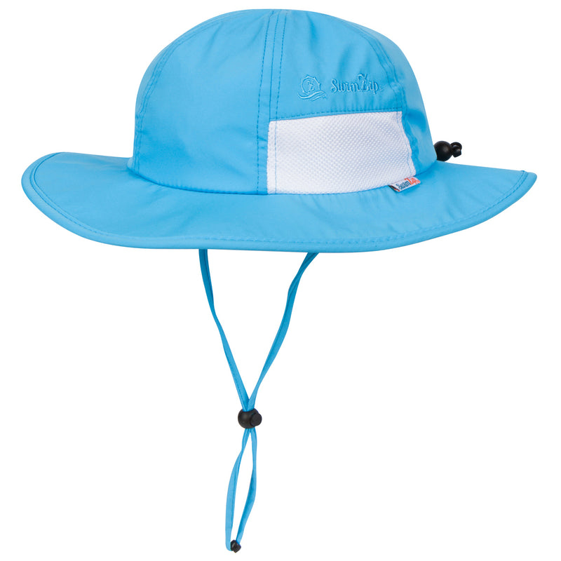 "Kid's Wide Brim Sun Hat ""Fun Sun Day Play Hat"" - Aqua-0-6 Month-Aqua-SwimZip UPF 50+ Sun Protective Swimwear & UV Zipper Rash Guards-pos1"