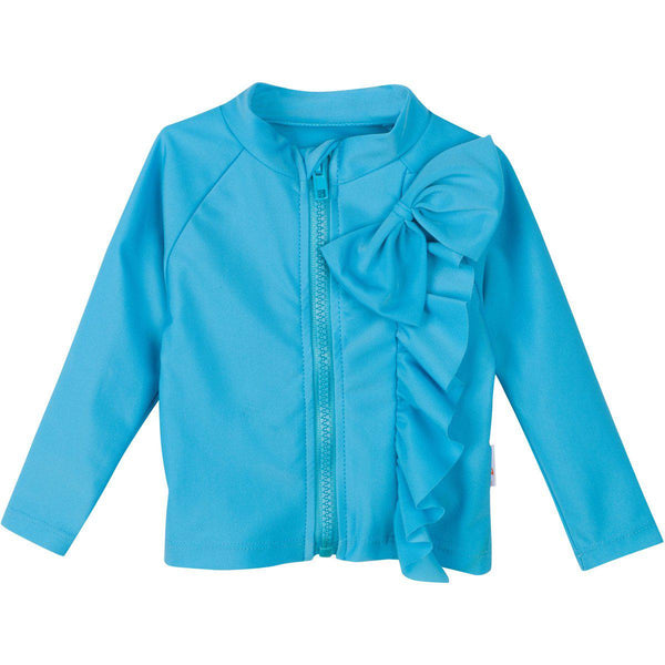Girl Long Sleeve Rash Guard with Ruffle Bow (Multiple Colors) - Salt Water Babe