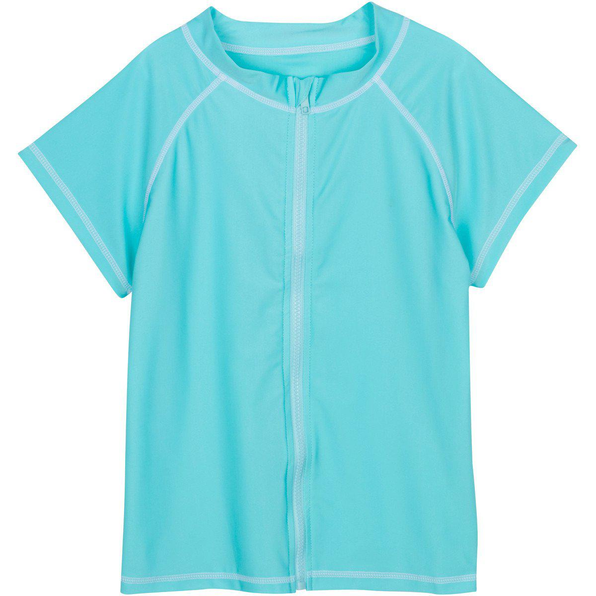 79c72d9540 Girl Zip Rash Guard Short Sleeve UPF 50+ Sun Protective - Turquoise Sweet  Splasher
