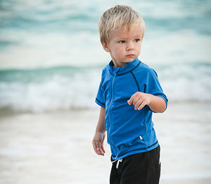 Kid's Short Sleeve Rash Guard Swim Shirt - Multiple Colors - SwimZip Sun Protection Swimwear