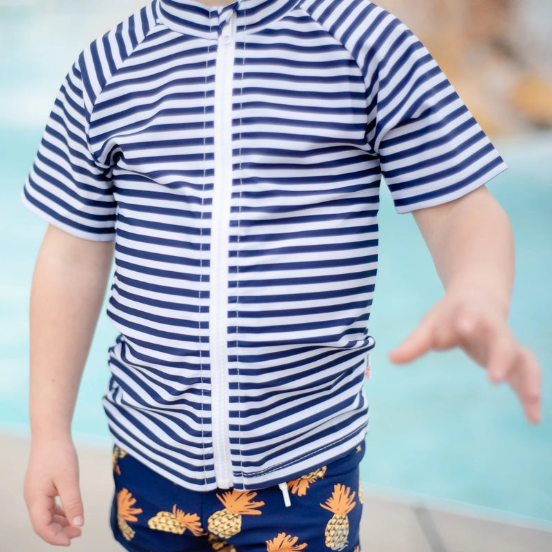 "Kid's Short Sleeve Rash Guard - Navy & White Stripe ""Stunner""-SwimZip UPF 50+ Sun Protective Swimwear & UV Zipper Rash Guards-pos7"