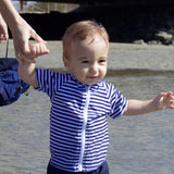 "Kid's Short Sleeve Rash Guard - Navy & White Stripe ""Stunner""-SwimZip UPF 50+ Sun Protective Swimwear & UV Zipper Rash Guards-pos4"
