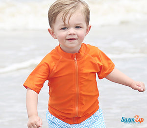 Kid's Short Sleeve Rash Guard Swim Shirt - Orange - SwimZip Sun Protection Swimwear