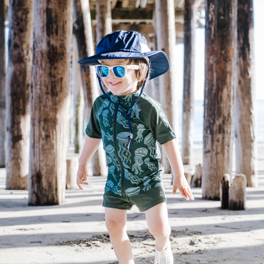 Kid's Short Sleeve Rash + Euro Shorties Rash Guard Set - Jellyfish-SwimZip UPF 50+ Sun Protective Swimwear & UV Zipper Rash Guards-pos6