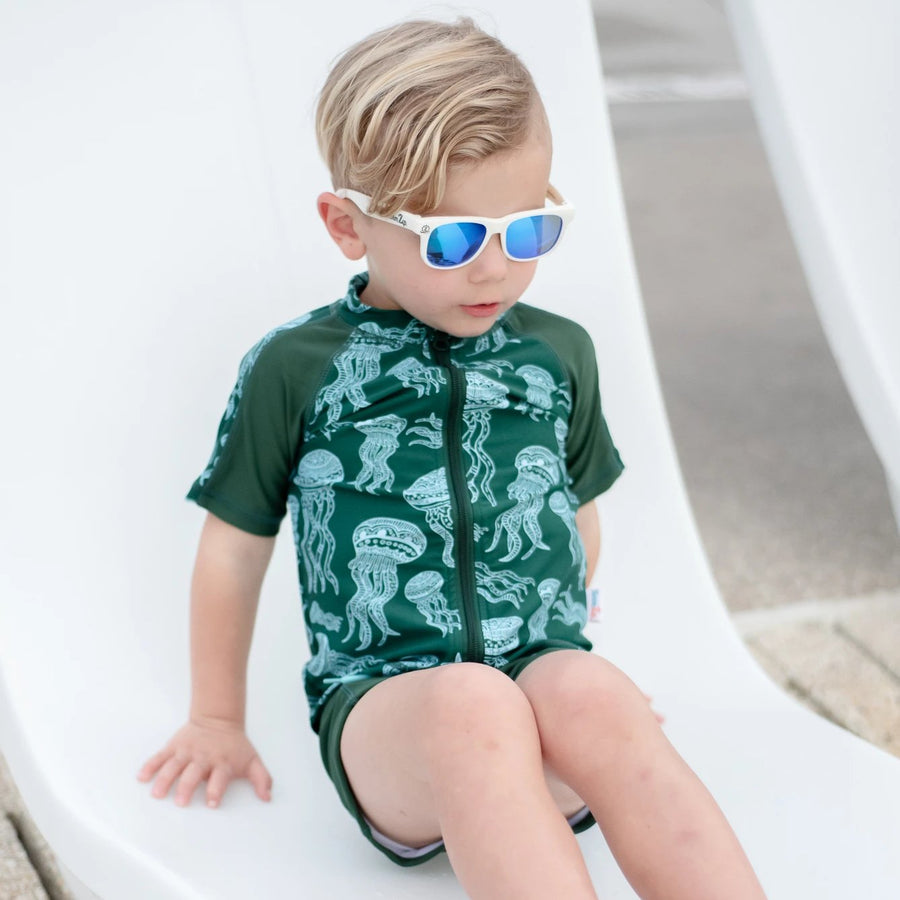 Kid's Short Sleeve Rash + Euro Shorties Rash Guard Set - Jellyfish-SwimZip UPF 50+ Sun Protective Swimwear & UV Zipper Rash Guards-pos3
