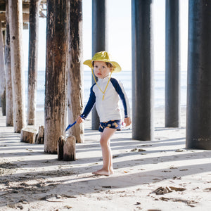 "Little Boy Long Sleeve Rash + Euro Shorties Rash Guard Set | ""Pineapple Dreams"""