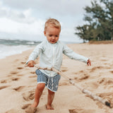 "Boy ""Catch a Wave"" Swim Trunks - Mini Navy Stripe-SwimZip UPF 50+ Sun Protective Swimwear & UV Zipper Rash Guards-pos2"