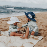 "Kid's Wide Brim Sun Hat ""Fun Sun Day Play Hat"" - Navy-SwimZip UPF 50+ Sun Protective Swimwear & UV Zipper Rash Guards-pos5"