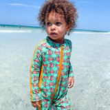 "Sunsuit - Long Sleeve Romper Swimsuit - ""Don't Be a Crab""-SwimZip UPF 50+ Sun Protective Swimwear & UV Zipper Rash Guards-pos2"