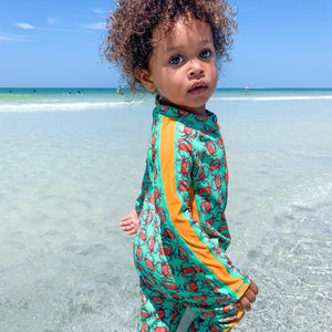 "Sunsuit - Long Sleeve Romper Swimsuit - ""Don't Be a Crab"" - SwimZip Sun Protection Swimwear"