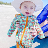 "Sunsuit - Long Sleeve Romper Swimsuit - ""Don't Be a Crab""-SwimZip UPF 50+ Sun Protective Swimwear & UV Zipper Rash Guards-pos5"