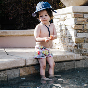 "Kid's Euro Swim Shorties - ""Madras Mania""-SwimZip UPF 50+ Sun Protective Swimwear & UV Zipper Rash Guards-pos3"