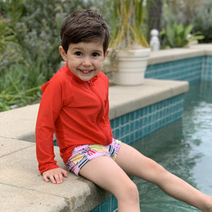 "Kid's Euro Swim Shorties - ""Madras Mania""-SwimZip UPF 50+ Sun Protective Swimwear & UV Zipper Rash Guards-pos2"