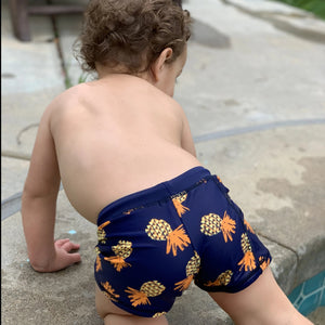 "Kid's Euro Swim Shorties - ""Pineapple Dreams""-SwimZip UPF 50+ Sun Protective Swimwear & UV Zipper Rash Guards-pos4"